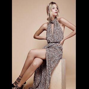 Free People Leopard Neck Halter Backless Dress 0
